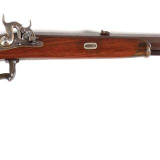 A beautiful German stalking rifle with heavy octagonal Damascus barrel
