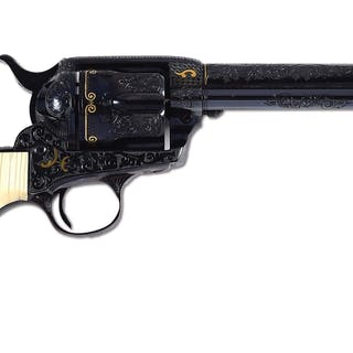 Masterfully engraved 1911 vintage Colt single action arm revolver