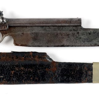 This unusually large cutlass pistol with Bowie blade