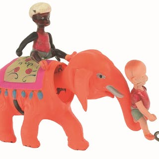 Depicts Henry on elephant's trunk