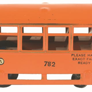 """Pressed steel wind-up trolley toy marked """"782"""""""
