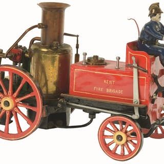 Model of early fire pumper comes with wooden driver