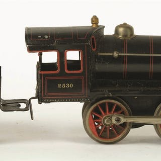 European style steam locomotive with matching four-wheel tender