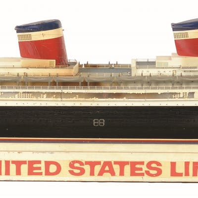 Wooden United States Lines Ship is on wooden stand