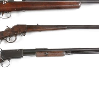 Lot consists of (A) Remington Model 514 single shot bolt action rifle