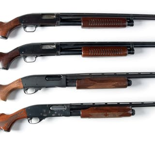 Lot consists of: Four shotguns with blue or matte finish and wood stocks