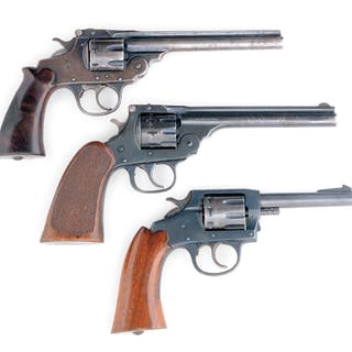 (A) Iver Johnson Supershot Top Break 7-shot double action revolver