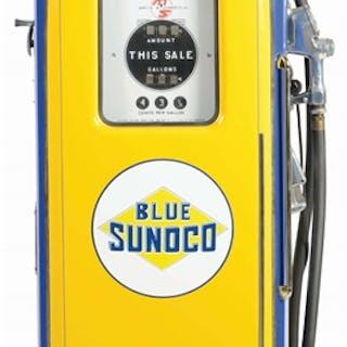 Martin & Schwartz Gas Pump is professionally restored in Blue Sunoco Gasoline