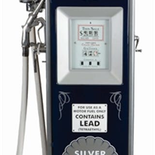 Pump shows an excellent restoration done in Silver Shell Gasoline