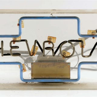 Neon Skeleton Sign Mounted On Plastic Backing
