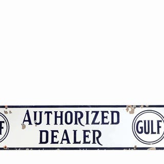 Lot Consists Of: Gulfpride Motor Oil Tin Flange Sign