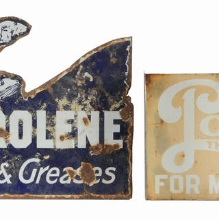 Lot Consists Of: Sterling Motor Oils Embossed Tin Sign