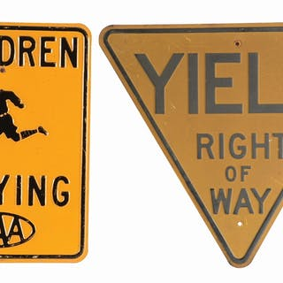 Lot Consists Of: Auto Club Children Playing Embossed Steel Sign