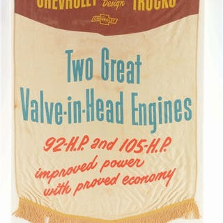 An excellent example of this cloth banner from Chevrolet