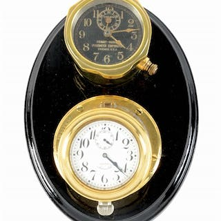 Two Brass Body Automotive Clocks mounted on very nice wooden base