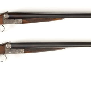 "A rare pair of 30"" dovetail 12 Bore side by side shotguns"