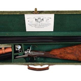 A very rare and unique 12 bore side lever double trigger...