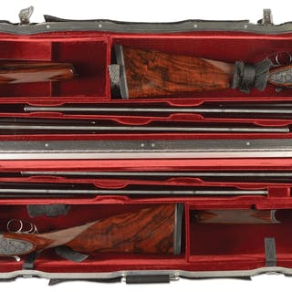 """(1961) Guns are denoted by gold inlaid letter """"A"""" and """"B"""" on breech end of ribs"""