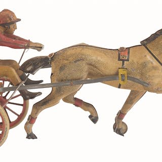 Depicts horse pulling rider