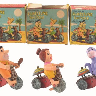 Lot includes all three variations of Flintstone tricycle