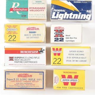 Lot consists of eight bricks of .22 ammunition