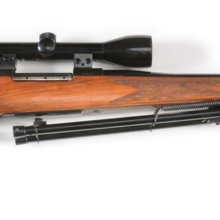 Weatherby Mark V bolt action rifle with Bushnell 3-9 viable power scope