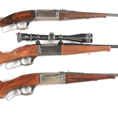 Lot consists of: (A) Savage Model 1899 lever action rifle...