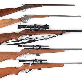 Lot consists of (A) Remington Model 6 falling block .22 with wood stock
