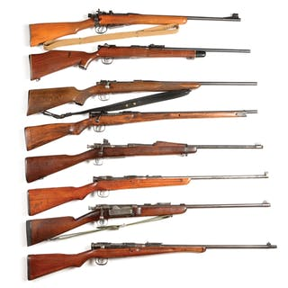 Lot consists of eight sporterized military bolt action rifles