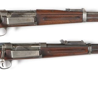 (A) Model 1896 Krag rifle made into a carbine possibly by Bannerman
