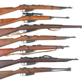 Lot consists of seven Carcano bolt action carbines and rifle