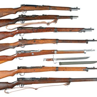 Lot consists of seven Type 38 and Type 99 action rifles and carbines