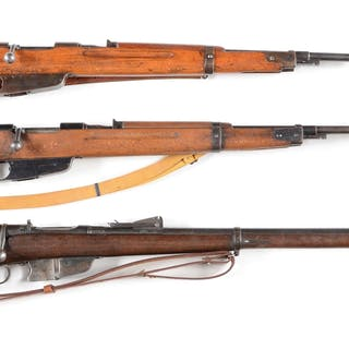 Lot consists of two M38/91 carbines and a Vetterli 1870/87/15 rifle