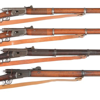 Lot consists of four Swiss made bolt action tube magazine rifles