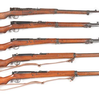 Lot consists of five Japanese Type 38 and Type 99 bolt...