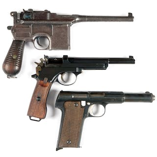 Lot consists of (A) Broomhandle Mauser C-96; Commercial model