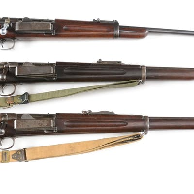 Lot consists of (A) 1896 Krag Carbine with Arsenal...