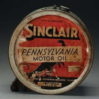 Five Gallon Rocker Oil Can with Original Paper Labels on each side