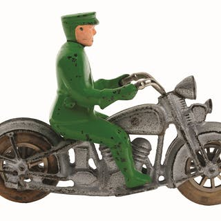 Silver cycle with green driver