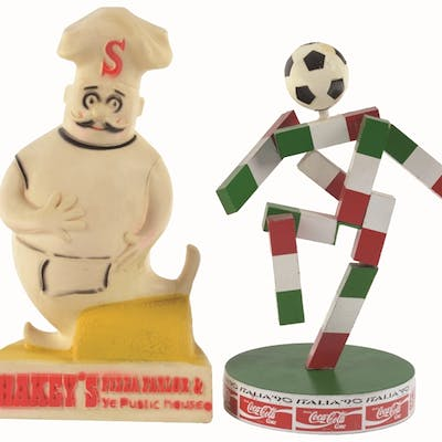 A set of two interesting advertising figures including...