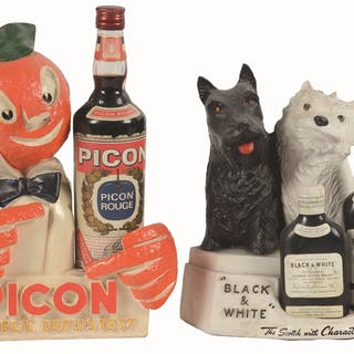 A group of two liquor store advertising displays from the...