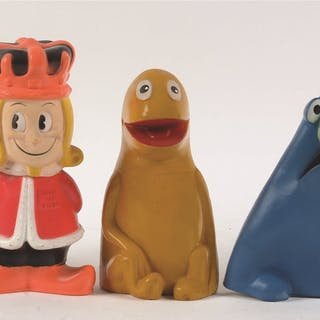 This is a great lot of advertising mascot banks and hand puppets