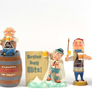 Lot includes four advertising back bar figures for Blatz beer