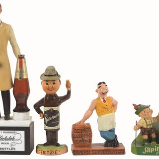 Here are four different beer advertising figures made of plastic