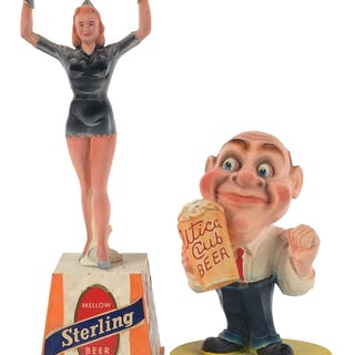 These two American beer advertising backbar figures are...
