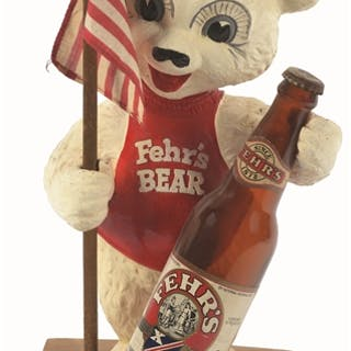This Fehr's beer Bear advertising plaster is a classic