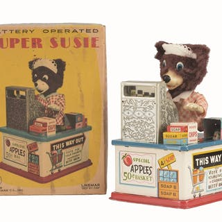 Includes original box showing bear at the counter ringing up groceries