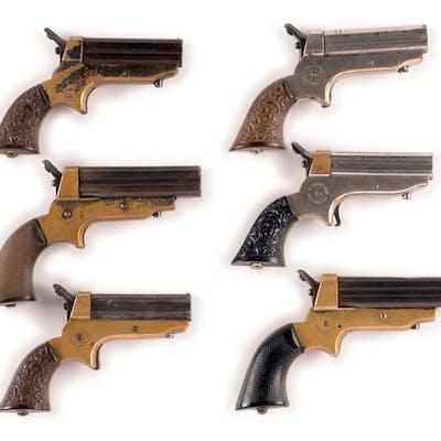 Lot consists of six Sharps derringers: (A) .22 caliber