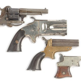 Lot consists of (A) Belgian pinfire revolver with folding trigger