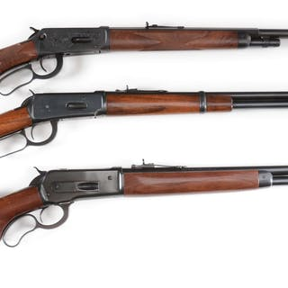 Lot consists of (A) Winchester 1894 Deluxe engraved rifle...